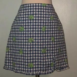 Lilly Pulitzer Blue Gingham Skirt Turtle 8 Ruffle